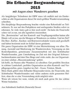 Kommentar zur EBW 2015 in Markneukirchner Zeitung