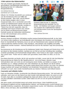 Bericht Freie Presse zur 37. Erlbacher Bergwanderung 2016